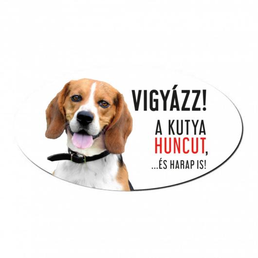 Vigyázz a kutya harap tábla műanyagból BEAGLE