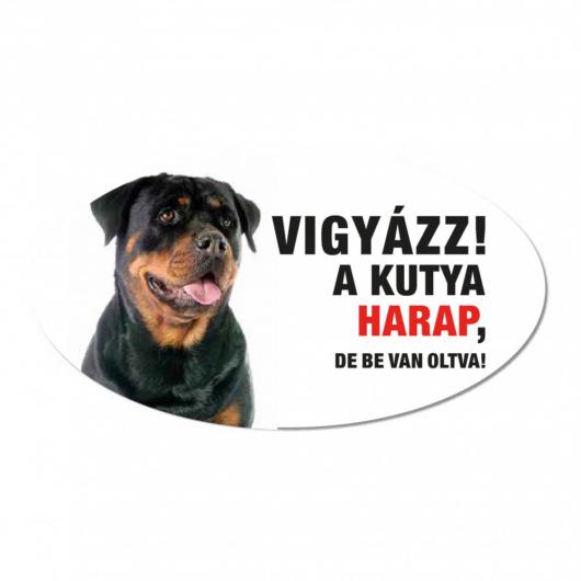 Vigyázz a kutya harap tábla műanyagból ROTTWEILER