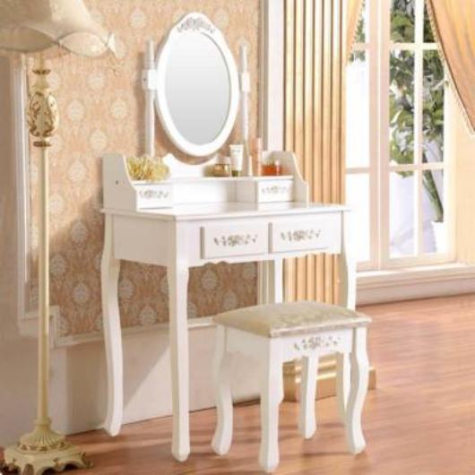 Tükrös fésülködő asztal székkel, Rome - fehér