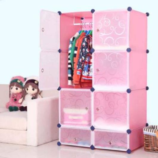 Műanyag elemes szekrény, rózsaszín