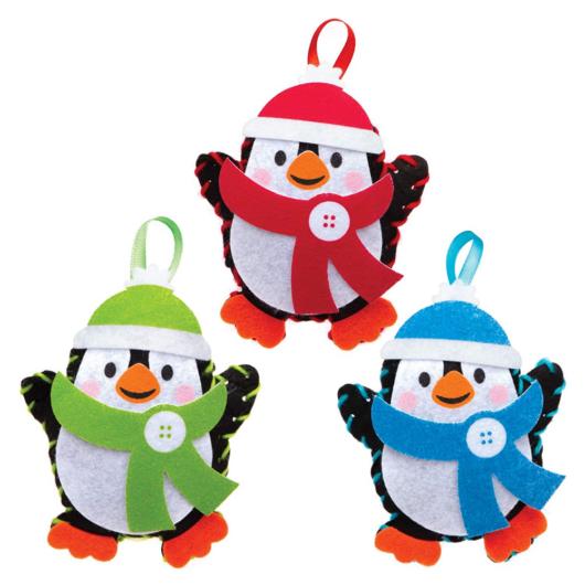 Karácsonyi pingvin dekorálható függődísz készlet 3 db-os Baker Ross AT238