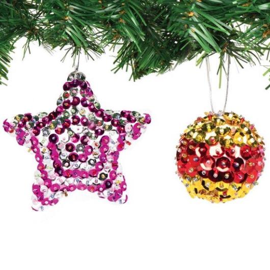 Karácsonyi hungarocell gömb flitteres dekoráló készlet 10 db-os Baker Ross AX383