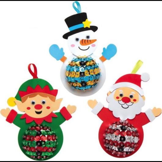 Karácsonyi figurák flittereles dekorálókészlet 3 db-os Baker Ross AX471