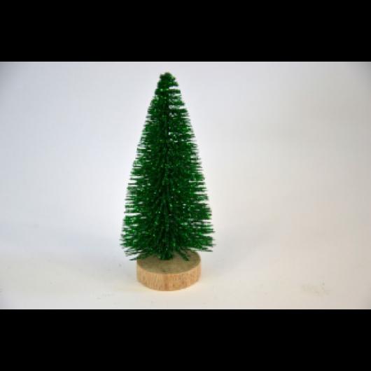 Fenyőfa zöld glitteres fa talppal 10 cm 3 db/cs