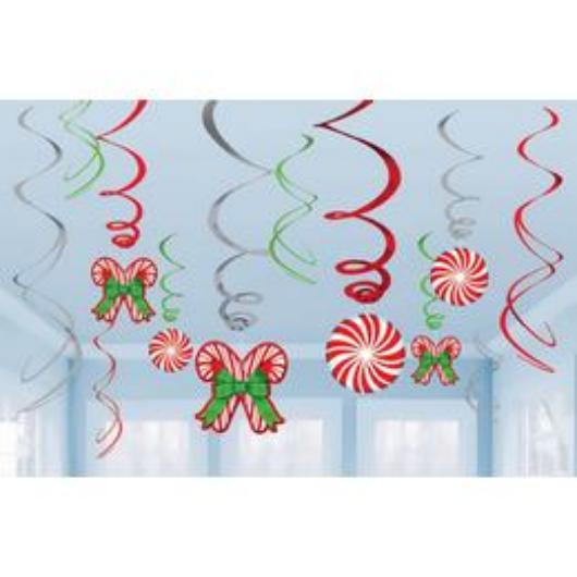 Karácsonyi Nyalóka Mintás Függő Spirális Dekoráció, 12 db-os
