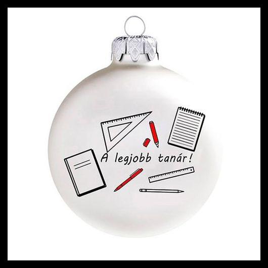 A legjobb tanár matt fehér/piros 8cm - Karácsonyfadísz