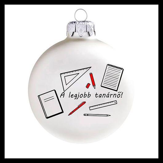 A legjobb tanárnő matt fehér/piros 8cm - Karácsonyfadísz