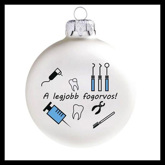 A legjobb fogorvos matt fehér 8cm - Karácsonyfadísz