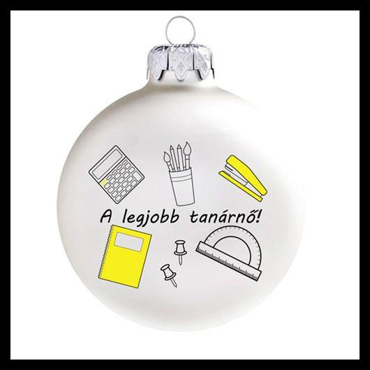 A legjobb tanárnő matt fehér/sárga 8cm - Karácsonyfadísz