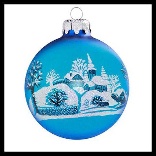 Jeges falu TR matt kék 8cm - Karácsonyfadísz