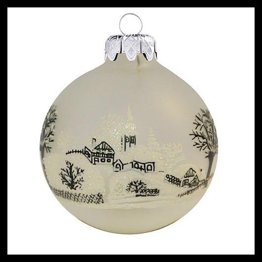 Jeges falu TR matt fehér 8cm - Karácsonyfadísz