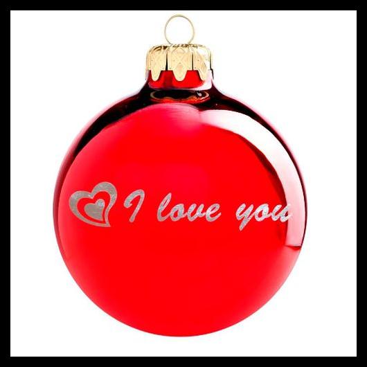 I love you fényes piros ezüst nyomással 8cm - Karácsonyfadísz