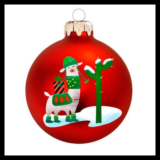 Láma matt piros 8cm - Karácsonyfadísz