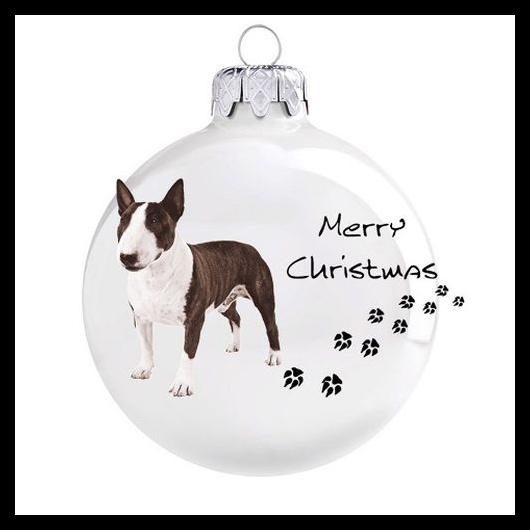 Bullterrier porcelán hatású üveg fehér 8cm - Karácsonyfadísz