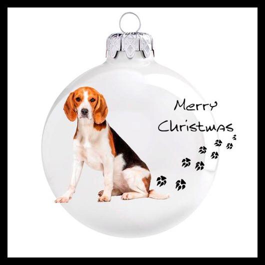 Beagle porcelán hatású üveg fehér 8cm - Karácsonyfadísz