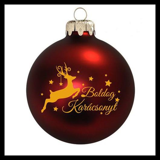 Boldog Karácsonyt + szarvas matt bordó - Karácsonyfadísz