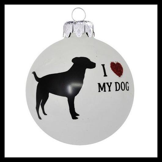 """I """"Love"""" My dog porcelán hatású üveg fehér 8cm - Karácsonyfadísz"""