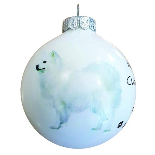 Spitz porcelán hatású üveg fehér 8cm - Karácsonyfadísz