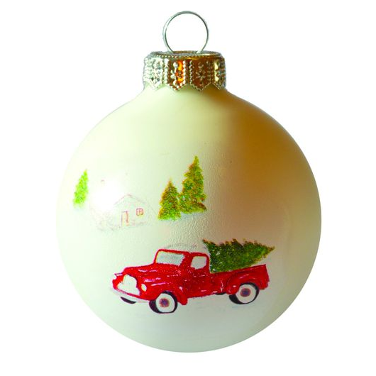 Autó porcelán hatású üveg fehér 8cm - Karácsonyfadísz