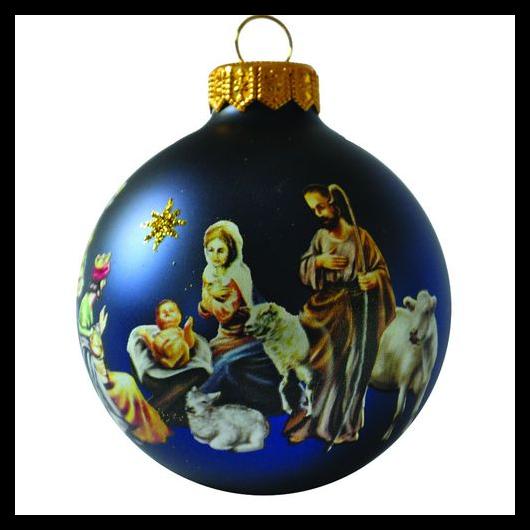 Betlehem matt kék 8cm - Karácsonyfadísz