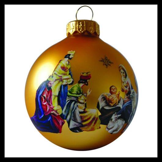 Betlehem matt arany 8cm - Karácsonyfadísz