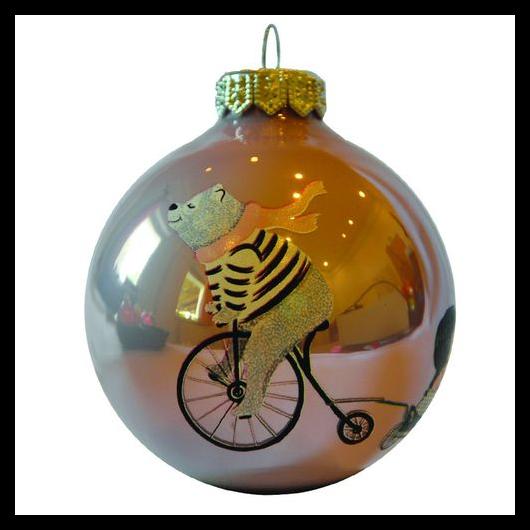 Bicikliző maci kislánnyal opál flieder 8cm - Karácsonyfadísz