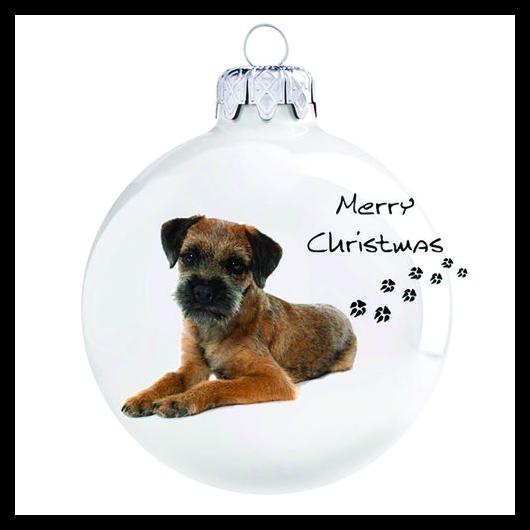 Border terrier porcelán hatású üveg fehér 8cm - Karácsonyfadísz