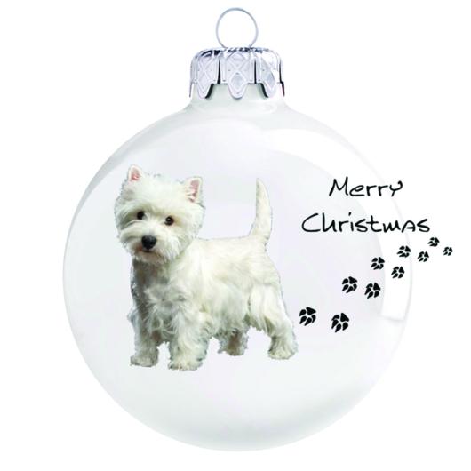 Westie 2 porcelán hatású fehér üveg 8cm - Karácsonyfadísz