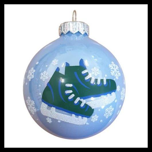 Korcsolya 8cm opál kék - Karácsonyfadísz