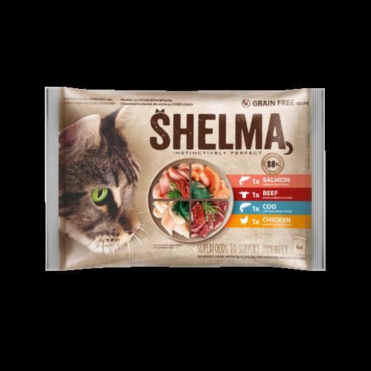 Shelma macska alutasak 4*85g baromfi,marha,lazac,tőkehal
