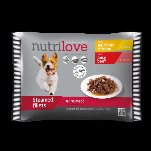 Nutrilove alutasak szószban kutyáknak csirke+marha 12x85g