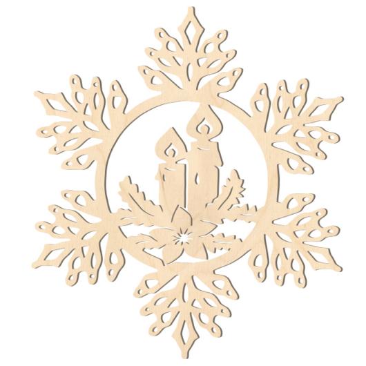 Fa karácsonyfadísz – Hópehely gyertyával