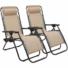 Kép 3/5 - Zéró gravitáció kerti szék ajándék pohártartóval, 2 db-bézs