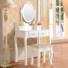Kép 2/3 - Tükrös fésülködő asztal székkel, Rome - fehér