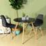 Kép 2/2 - 4 db modern étkezőszék asztallal - fekete
