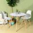 Kép 2/2 - 4 db modern étkezőszék asztallal - fehér