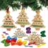 Kép 3/4 - Karácsonyfa keresztszemes varrókészlet fa függődísz 5 db-os Baker Ross AX424
