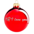 Kép 2/2 - I love you fényes piros ezüst nyomással 8cm - Karácsonyfadísz