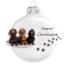 Kép 2/2 - 3 Tacskó porcelán hatású üveg fehér 8cm - Karácsonyfadísz