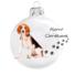 Kép 2/2 - Beagle porcelán hatású üveg fehér 8cm - Karácsonyfadísz