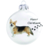 Kép 2/2 - Corgie porcelán hatású üveg fehér 8cm - Karácsonyfadísz