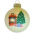 Kép 1/2 - Kandalló porcelán hatású üveg fehér 8cm - Karácsonyfadísz
