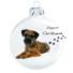 Kép 2/2 - Border terrier porcelán hatású üveg fehér 8cm - Karácsonyfadísz