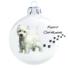 Kép 1/2 - Westie 2 porcelán hatású fehér üveg 8cm - Karácsonyfadísz